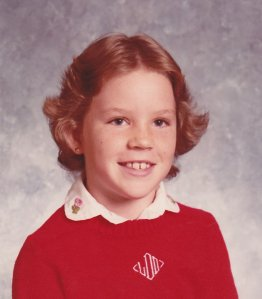 3rd grade school picture, c. 1983. Notice my monogrammed sweater and wings.