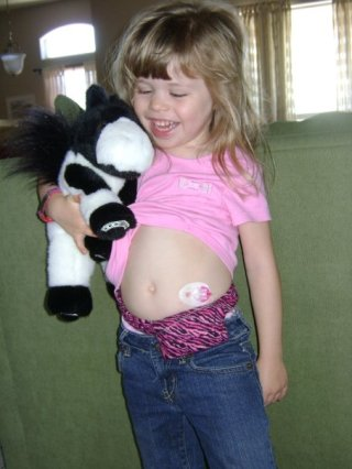 4 years old and wearing her first insulin pump. My brave girl!